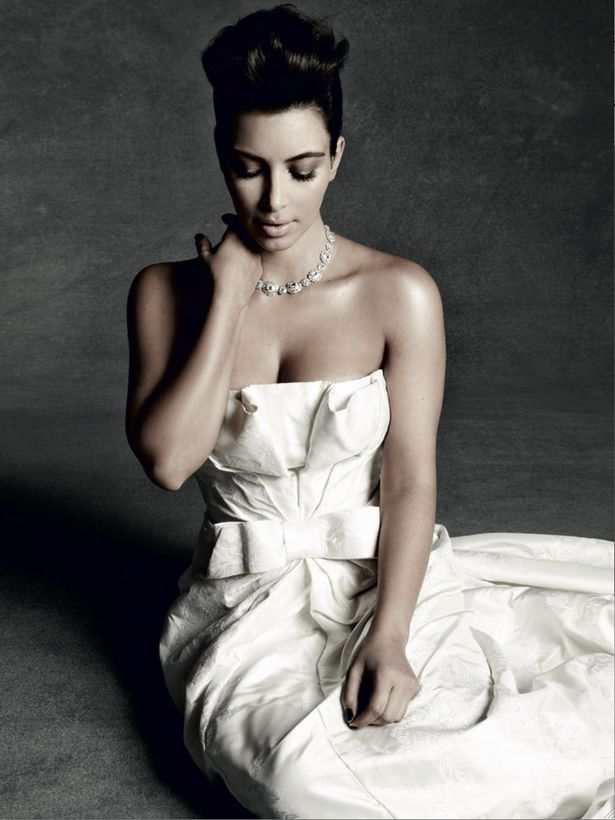 Kim Kardashian in Tatler wearing David Fielden