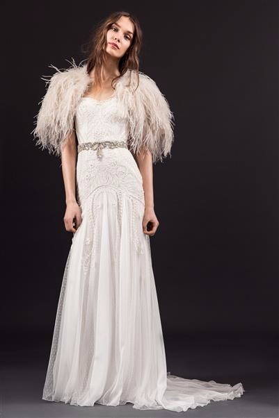 9.LUCIE DRESS WITH FEATHERED CAPE AND BEATRICE BELT (Custom)