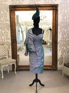 Ian Stuart – Peacock silk dress and jacket