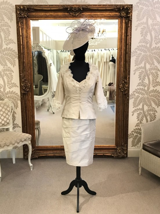 Ian Stuart – Platinum silk dress and jacket