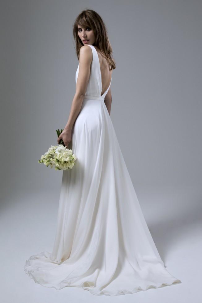 Daisy Silk Chiffon Wedding Dress With Deep V Back And