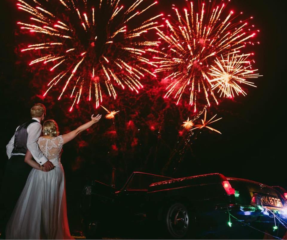 Laura's Suzanne Neville gown sparkling under the fireworks!