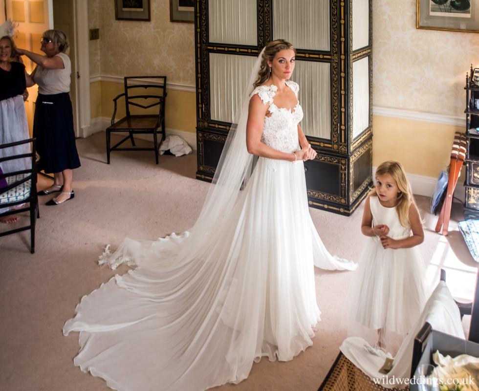 Tilly wearing the stunning Morning wedding dress by Caroline Castigliano