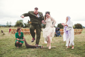Janey wearing David Fielden for a whimsical wiccan wedding!