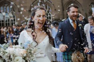 Naomi looking sensational in her bespoke Caroline Castigliano long sleeved wedding dress for her elegant Scottish wedding.