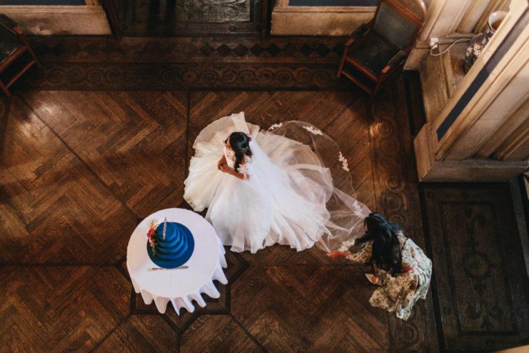 Our Suzanne Neville bride Arun in her exquisite bespoke Heather wedding dress!