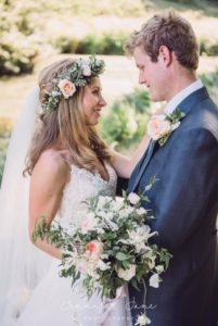 Rosy's beautiful Tertia wedding dress by Caroline Castigliano was perfect for her country wedding.