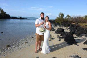 Our David Fielden bride Faye in her exquisite wedding dress for her beach destination wedding!