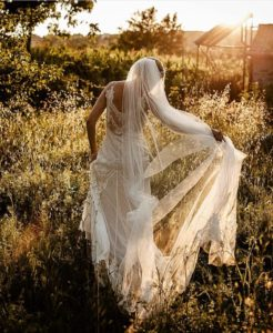 Real bride Lauren wore the beautiful David Fielden Romany gown for her Tuscany wedding