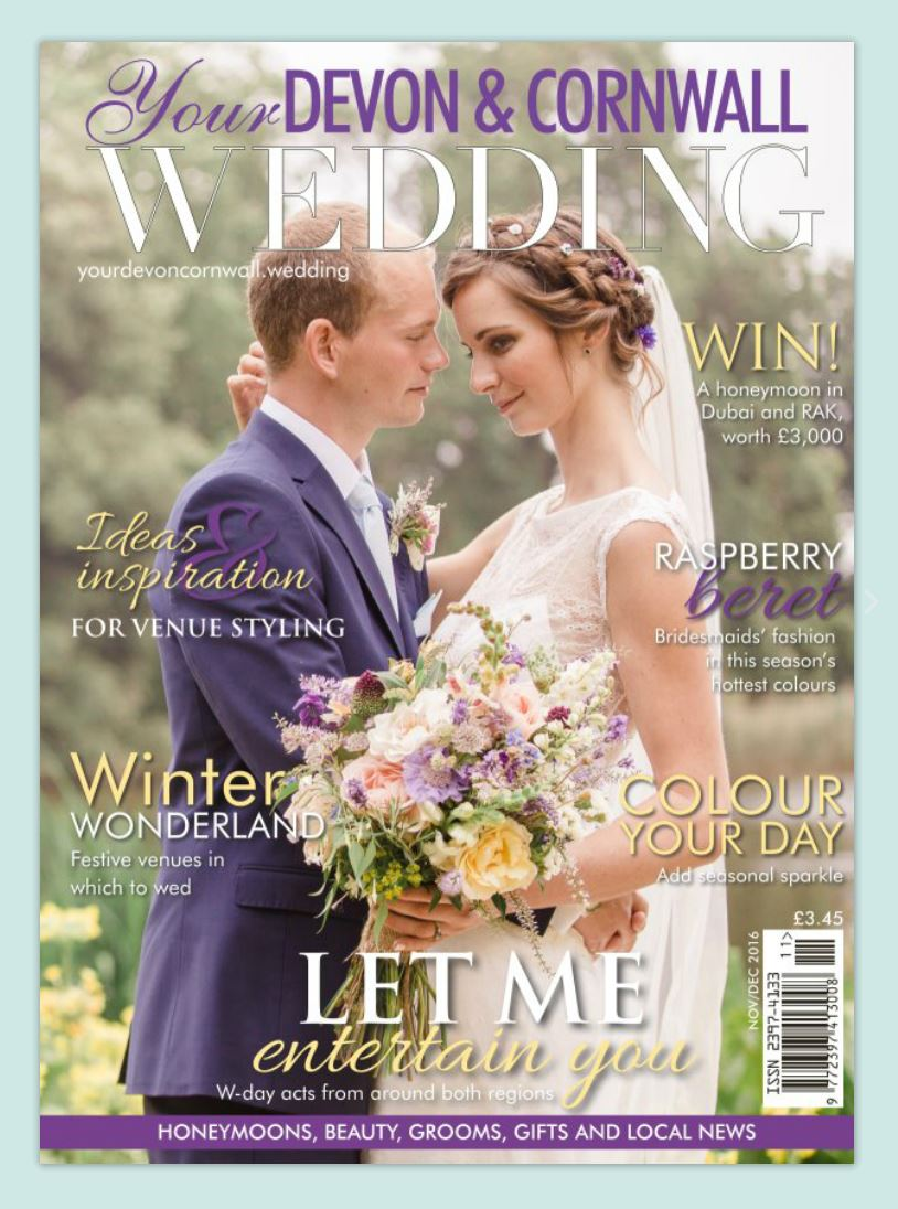 Our bride Lizzie made the front cover in her David Fielden gown.