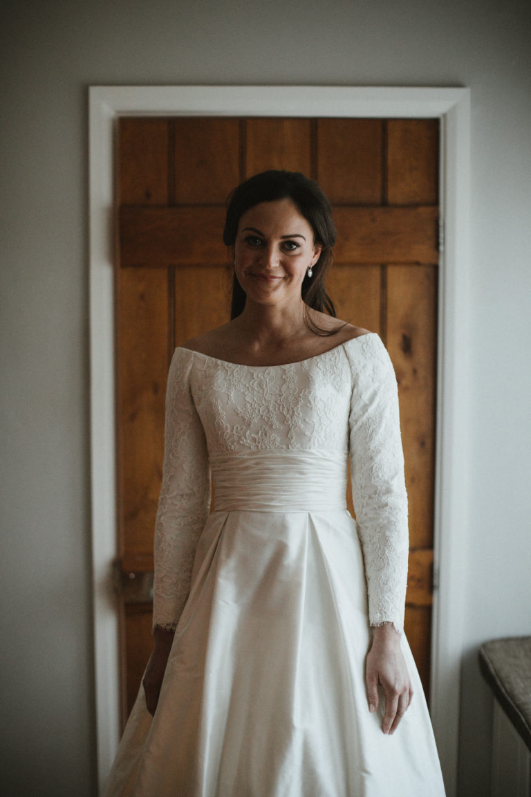 A Stewart Parvin wedding dress for a traditional country wedding.