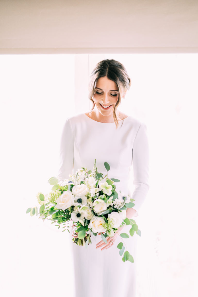 Modern minimal bride Chelsea looking  chic and elegant in Suzanne Neville Geddes.