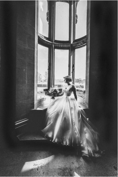 Rosie's flower crown was perfect with her Caroline Castigliano wedding dress.