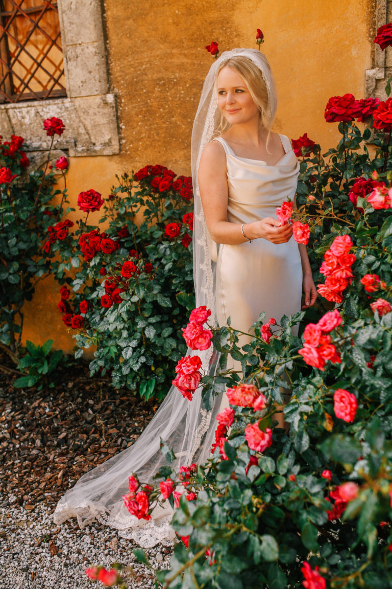 Beautiful bride Faye wearing a stunning David Fielden gown for her destination wedding.