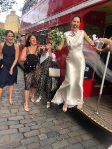 A David Fielden wedding dress for a chic city wedding.