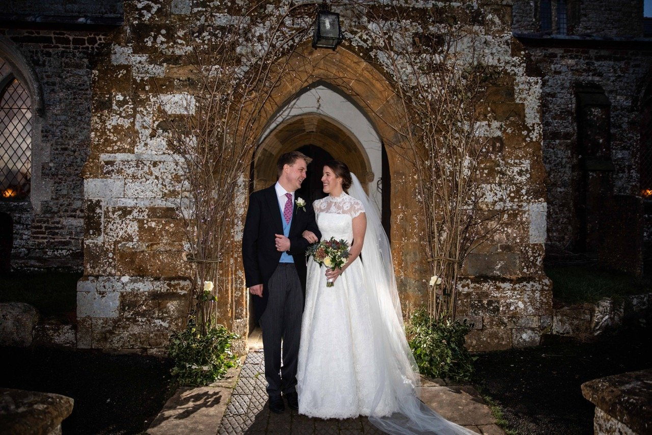 A wedding under the stars … Real bride India looked gorgeous in Caroline Castigliano at magical evening wedding
