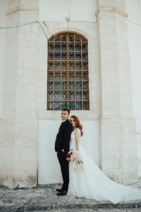 Beautiful Eirini wearing her bespoke Suzanne Neville Serrano dress for her sunny Cyprus wedding.
